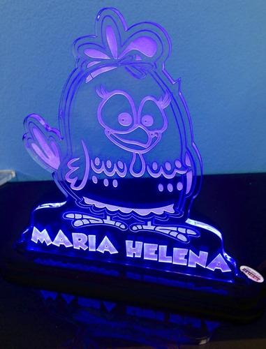 luminária acrílico 6mm c/ led - galinha pintadinha