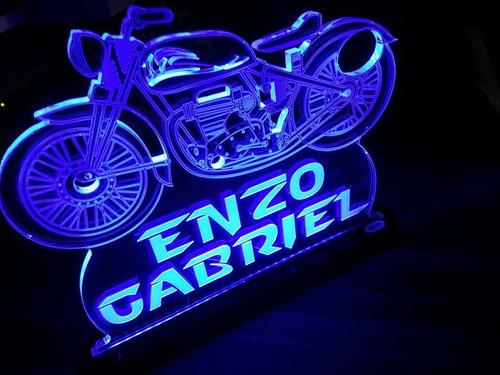 luminária acrílico 6mm personalizado com led - moto vintage