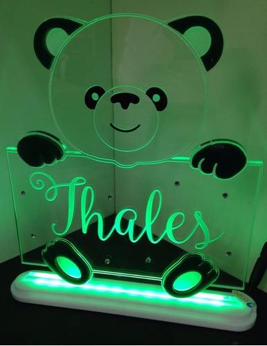 luminária acrílico 6mm personalizado com led - urso menino