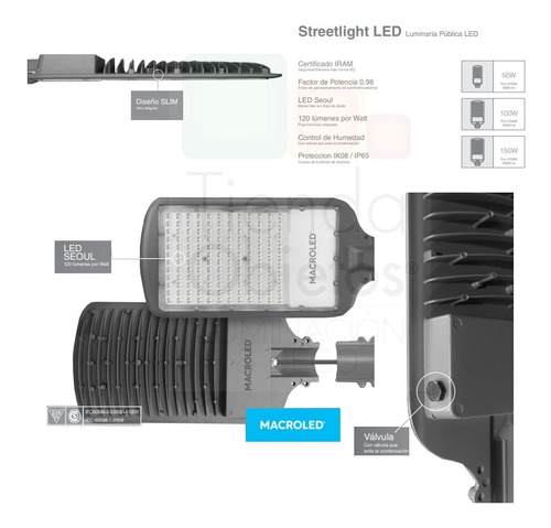 luminaria alumbrado publico vial led 150w luz calle macroled