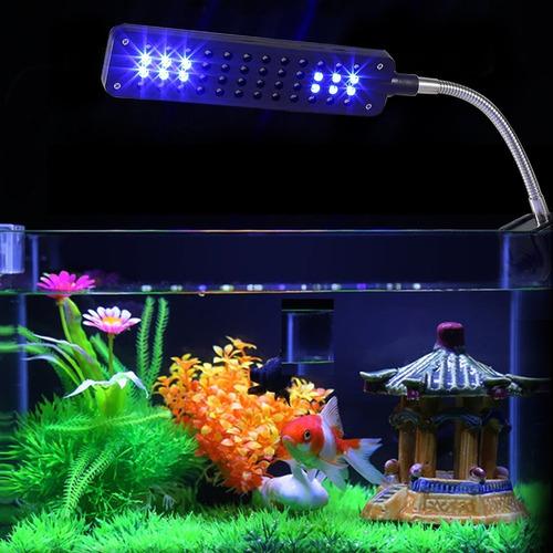luminária aquário clip 48 led branco azul bivolt plantas