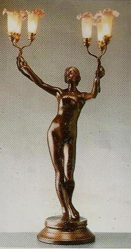 luminaria  art deco  petit bronze  com lirios  murano  49l6