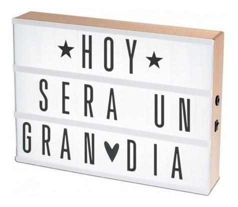 luminária cinema light box led + 96 letras números ícones