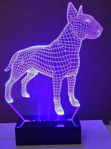 luminária cão bull terrier abajur display led rgb 3d