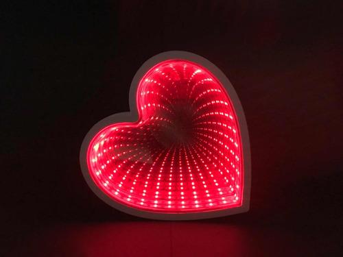 luminária coração led 20cm efeito espelhado decoração