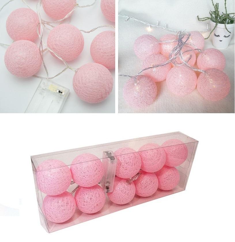luminária cordão de luz led 10 bolas rosa decoração quarto. Carregando zoom. 34b6e177bdb