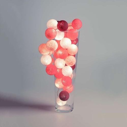 luminária cordão de luz varal 20 bolas cormilu jaipur rosa