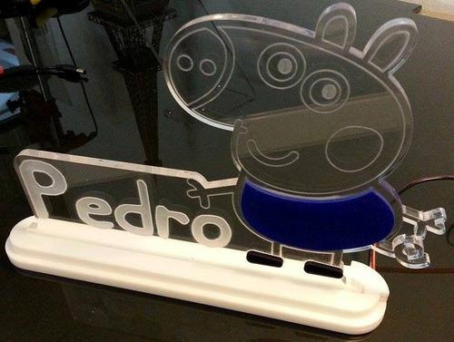 luminária de acrílico 6mm personalizado com led - george pig