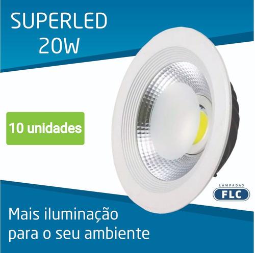 luminária de embutir flc superled cob redonda 20w - 3000k