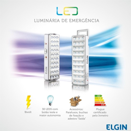 luminária de emergência 30 leds 2w elgin