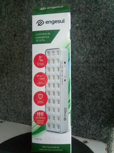 luminária de emergência 30 leds bivolt kit. engesul nova