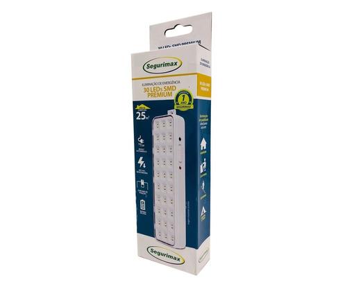 luminária de emergência luz 30 leds segurimax premium slim