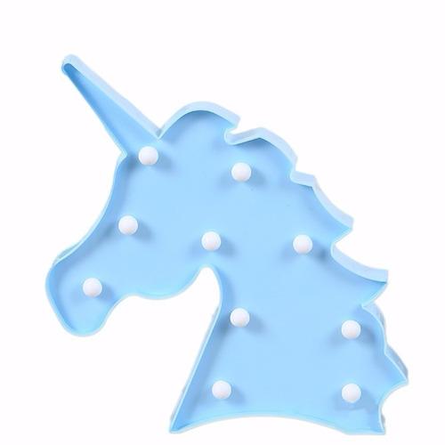luminária de led cabeça de unicórnio azul de mesa ou parede