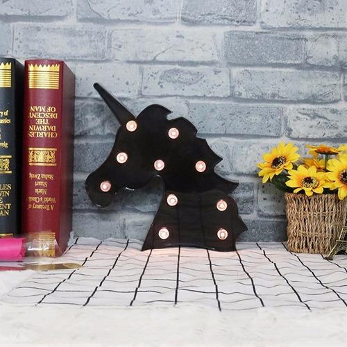 luminária de led cabeca de unicornio preta lampada decoração