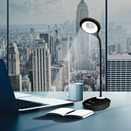 luminaria de mesa 6w 6000k touch bateria recarregável preta