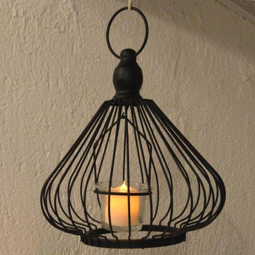 luminária de metal preta estilo gaiola formato gota