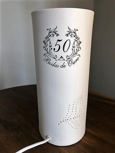 luminária de porcelana bodas de ouro 50 anos de casamento