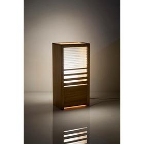 Luminária Design Acrílico E Madeira Led Rgb Contole Remoto