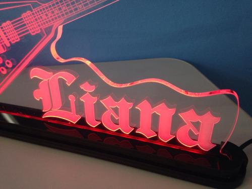 luminária em acrílico 6mm c/ led - guitarra - flying v