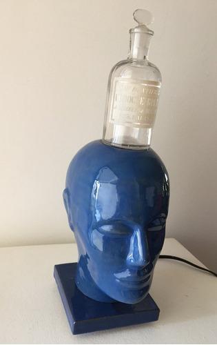 luminária em cerâmica - cabeça humana com vidro antigo