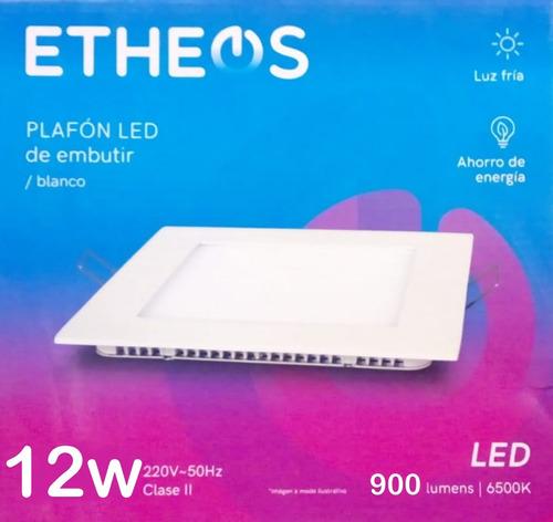 luminaria embutir 12w cuadrado etheos luz fria c60