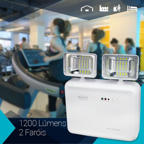 luminária emergência led 1200lumens 2 faróis segurimax