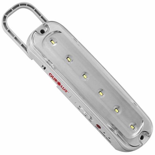 luminária emergência ourolux 6 superleds bivolt recarregável
