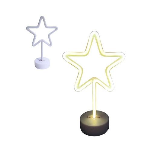 luminaria estrela led neon festa abajur com base pilha usb