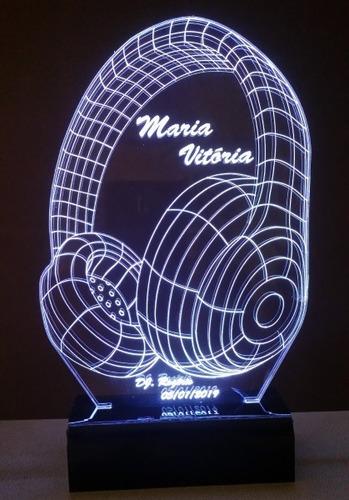luminária fone de ouvido abajur led 3d rgb