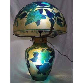 Luminária Gallé Em Pasta De Vidro Assinado - Único - 52,5cm