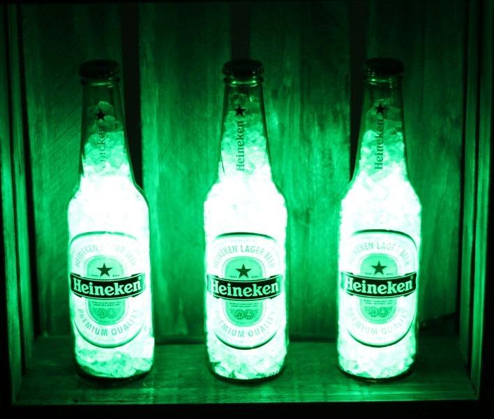 Cerveceria Artesanal Zona Norte ~ Luminária Garrafa Led Cerveja Kit Heineken Deecor R