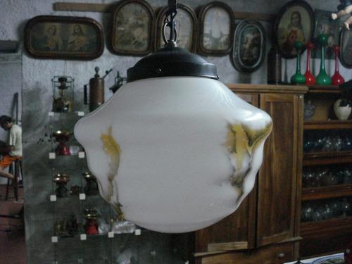 luminária globo cúpula antigo marmorizado com asa de barata