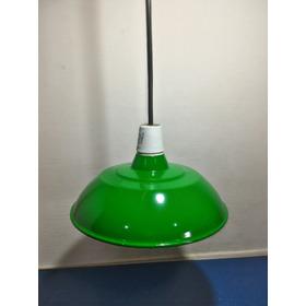 Luminaria Industrial Verde Para Galpao Com Fio Preto