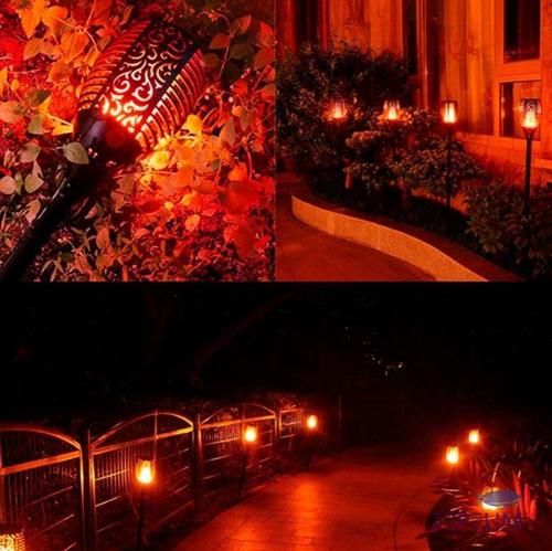 luminária jardim luz solar forte led tocha efeito chama