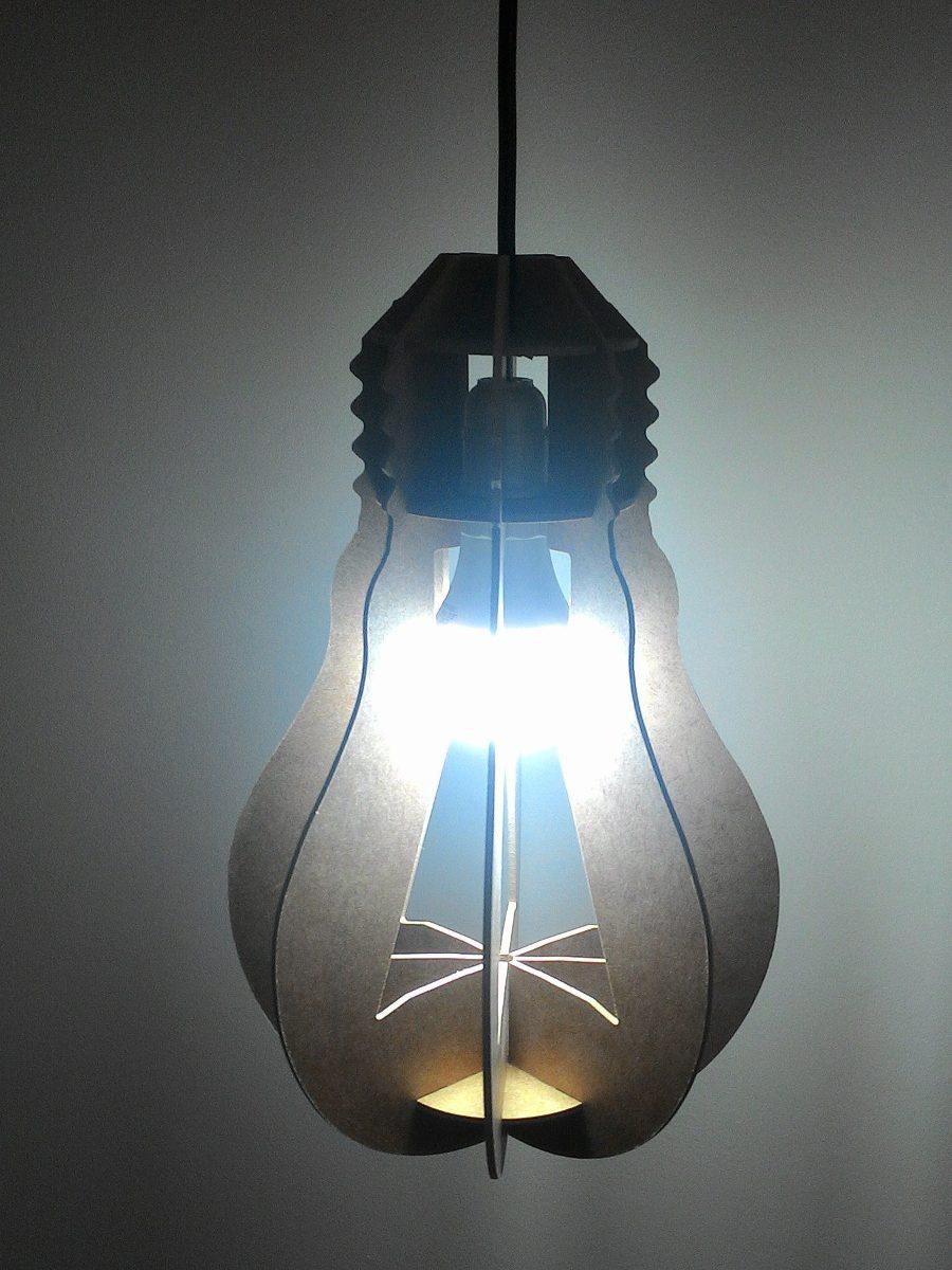 Luminária Lampada Pendente Mdf 3mm Lançamento! R$ 58,90 em Mercado Livre