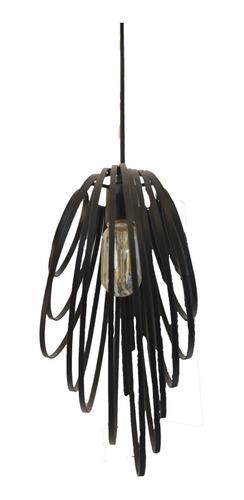 luminaria, lámpara colgante jaula vintage negra metal nido