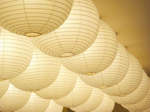 luminária lamparina lanterna japonesa papel branca 40cm