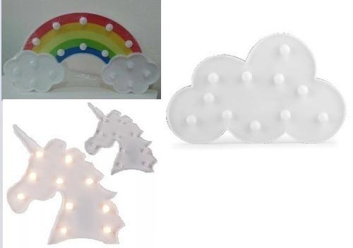 luminária led 2 arco íris 2 nuvem branca 1 unicórnio cabeça