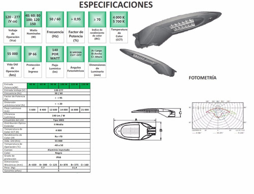 luminaria led alta eficiencia equipo philips 150w