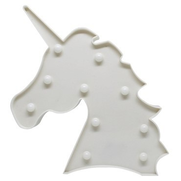 luminária led cabeça unicórnio branca abajur led decoração