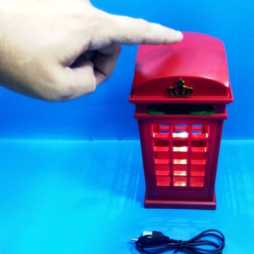luminária led cabine telefônica londres sensível ao toque
