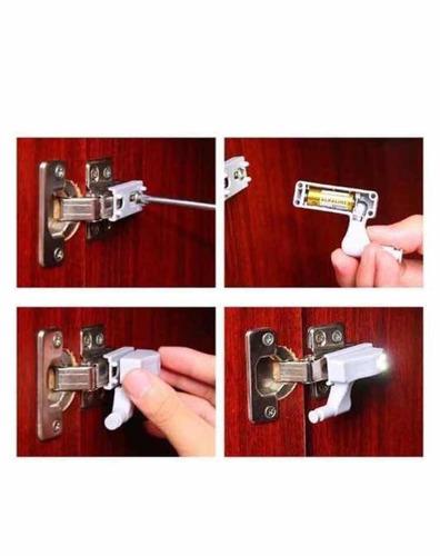 luminaria led dobradiça portas armário sapateira c/ 20