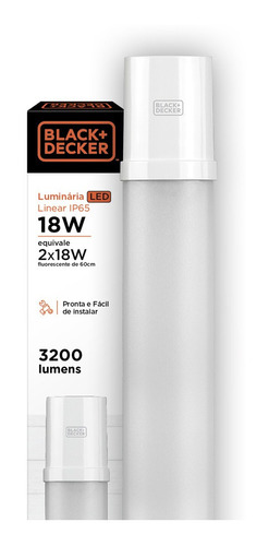 luminária led linear pro 18w 60cm amarela - black + decker