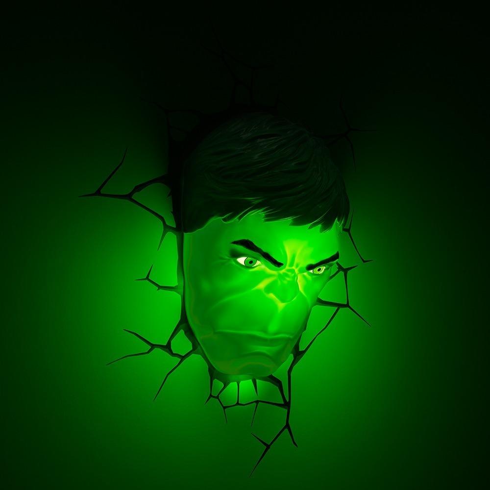 Luminaria Led Marvel 3d Fx Light Rosto Hulk R 249 50 Em Mercado