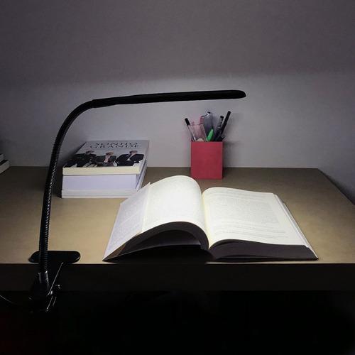 luminária led mesa flexível garra p/ leitura articulavel