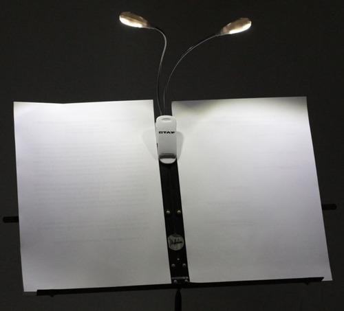 luminária led para partitura com clip 4 leds 2 astes  dinhos