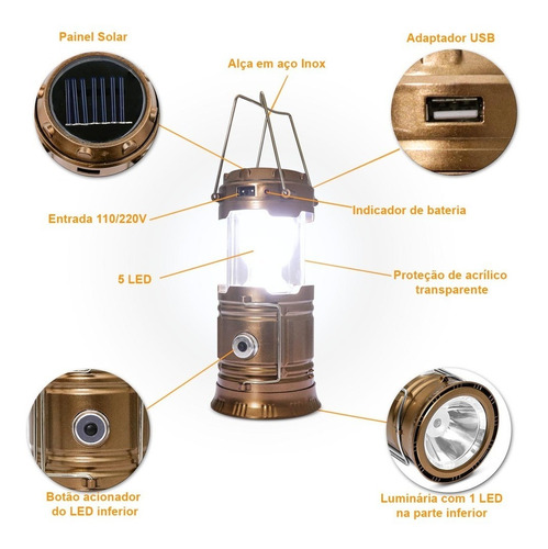 luminária led retrátil lampião solar recarregável bivolt usb