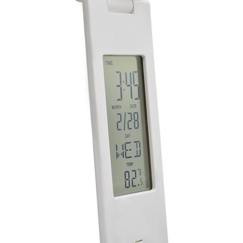 luminária led touch slim com relógio data temperatura alarme