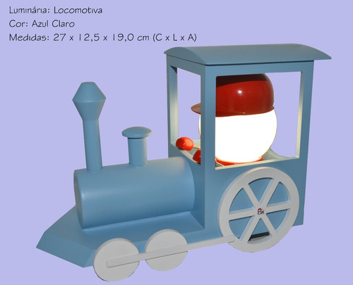luminária led trem - abajur