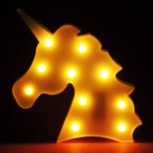luminária led unicórnio mesa e parede luminoso cabeça
